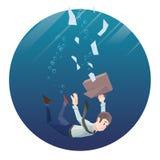 L'homme dans l'usage de bureau va vers le bas sous l'eau Trame ronde Images stock