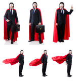 L'homme dans la couverture rouge d'isolement sur le blanc Photographie stock libre de droits