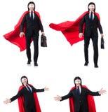 L'homme dans la couverture rouge sur le blanc Images stock