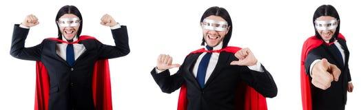 L'homme dans la couverture rouge sur le blanc Photo libre de droits