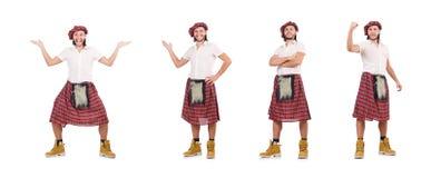 L'homme dans la jupe d'écossais d'isolement sur le blanc image stock