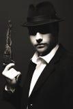 L'homme dans le bandit de Chicago de style photographie stock libre de droits