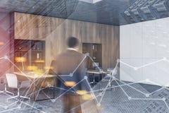L'homme dans le bureau blanc et gris de l'espace ouvert, représente graphiquement image libre de droits