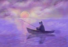 L'homme dans le chapeau pêche des poissons au lever de soleil Illustration