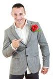 L'homme dans le costume se dirigeant à s'est levé dans sa poche Image stock