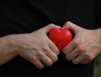 L'homme dans le T-shirt noir tient le coeur rouge dans des paumes Images libres de droits