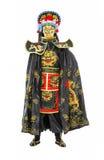 L'homme dans les samouraïs a décoré le costume avec la fan Photographie stock libre de droits