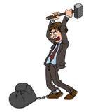 L'homme de bande dessinée brise le coeur d'un marteau Photographie stock libre de droits