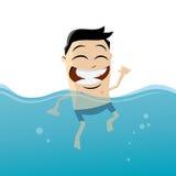 L'homme de bande dessinée nage Photographie stock