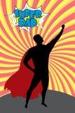 L'homme de bande dessinée de silhouette dans le costume de héros a éclaté le fond, DA superbe illustration de vecteur