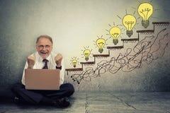L'homme de cadre supérieur travaillant sur l'ordinateur célèbre le succès Image libre de droits