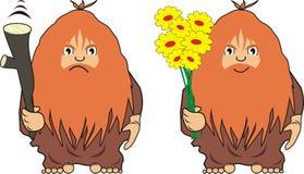 L'homme de caverne avec une trique ou avec des fleurs Photographie stock libre de droits