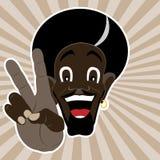 L'homme de couleur affiche la paix Illustration de Vecteur