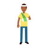 L'homme de couleur avec le bras dans un plâtre et le bandage sur le sien dirigent l'illustration colorée Image stock