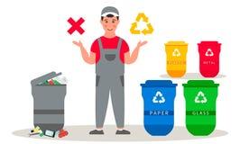 L'homme de déchets dans l'uniforme informe au sujet du tri de déchets Les poubelles dirigent les illustrations plates Trier de re images stock