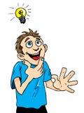 L'homme de dessin animé a une idée lumineuse. Images libres de droits