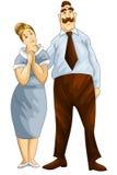 L'homme de femme parents le style de bande dessinée de caractère de couples  Photographie stock
