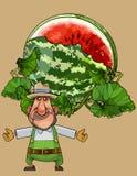 L'homme de jardinier de bande dessinée montre une pastèque ouverte énorme illustration libre de droits