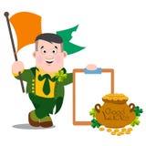 L'homme de l'Irlande avec le drapeau Jour de St Patrick s Photographie stock libre de droits