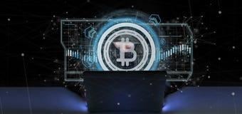 L'homme de pirate informatique tenant une icône de Bitcoin de technologie sur un cercle 3d les déchirent Images libres de droits