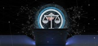 l'homme de pirate informatique tenant une icône de justice de technologie sur un cercle 3d les déchirent Image libre de droits