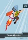 L'homme de Rocket Fly With Casual Business commencent le concept de succès Image libre de droits