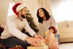 L'homme de sourire aidant son épouse mise se présente sous l'arbre de Noël Images libres de droits