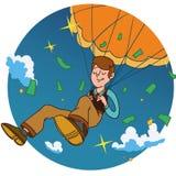 L'homme de sourire tombent sur un parachute doré en cercle Photographie stock