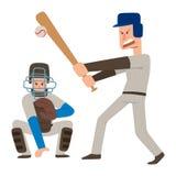 L'homme de sport de vecteur de joueur d'équipe de baseball dans le jeu uniforme pose le gagnant sportif de caractère de ligue pro Image stock