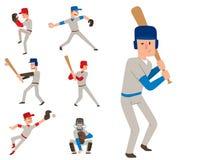 L'homme de sport de vecteur de joueur d'équipe de baseball dans le jeu uniforme pose le gagnant sportif de caractère de ligue pro Photos libres de droits