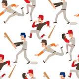 L'homme de sport de vecteur de joueur d'équipe de baseball dans le jeu uniforme pose le gagnant sportif de caractère de ligue pro Illustration de Vecteur
