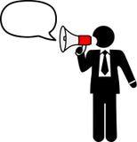 L'homme de symbole d'affaires parlent le corne de brume d'entretien illustration stock