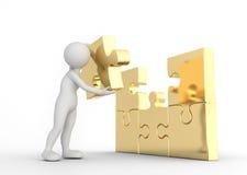 L'homme de Toon accomplit le puzzle d'or de puzzle Concept de solution d'affaires illustration de vecteur