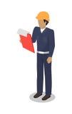 L'homme de travailleur de dock avec le panneau d'agrafe procède à l'inspection illustration libre de droits