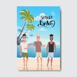 L'homme de vacances d'été détendent le label de conception d'insigne de plage de paysage Assaisonnez les vacances marquant avec d illustration de vecteur