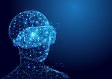 L'homme de Wireframe avec la maille de signe de casque de VR à partir d'un étoilé et commencent le fond de concept illustration stock