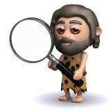 l'homme des cavernes 3d regarde par une loupe Photo libre de droits
