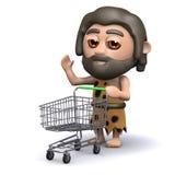 l'homme des cavernes 3d a un chariot vide à achats Images stock