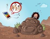 L'homme des cavernes obtiennent effrayé voyant un instrument illustration stock