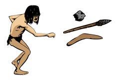 L'homme des cavernes projette une arme Illustration de Vecteur