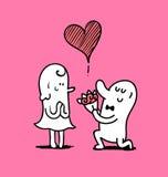 L'homme donnent un bouquet à la femme dans le Saint Valentin, illu de griffonnage illustration de vecteur