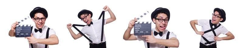 L'homme drôle avec le conseil de film image stock