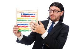 L'homme drôle avec la calculatrice et l'abaque Image libre de droits