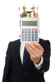 L'homme drôle avec la calculatrice et l'abaque Photographie stock libre de droits