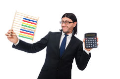 L'homme drôle avec la calculatrice et l'abaque Photo stock