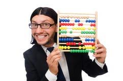 L'homme drôle avec la calculatrice et l'abaque Images stock