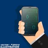 L'homme du ` s de programmeur tient un smartphone moderne dans sa main et regarde le code binaire Style plat illustration libre de droits