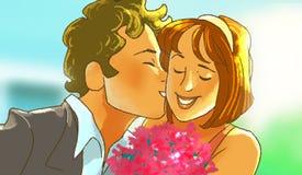 L'homme embrasse la fille de sourire avec un bouquet Photo libre de droits