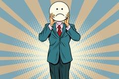 L'homme Emoji souriant de tristesse font face Image libre de droits