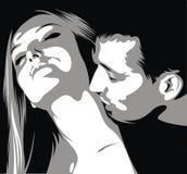 L'homme est femme de kissinig sur son cou Photos libres de droits